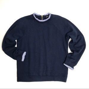 J. Crew Mercantile Ruffle Neck Navy Sweatshirt